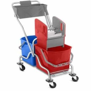 CHROMIUM DOUBLE BUCKET MOPPING TROLLEY